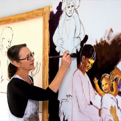 An Artist and A Christian:  Her murals adorn a church, a school and more