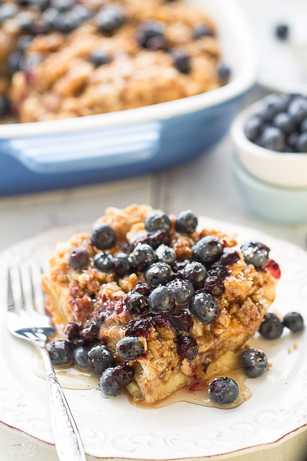 Blueberry French Toast Casserole makes the perfect weekend breakfast e1449301504245