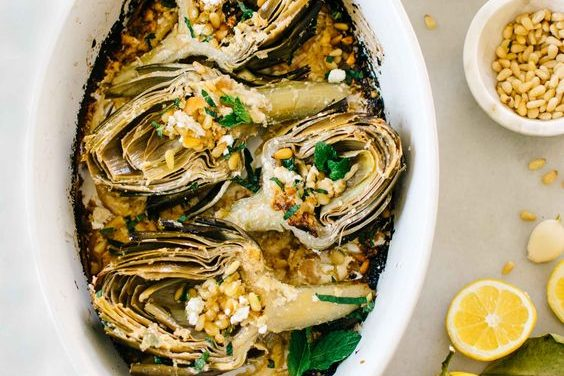 Lemon & Feta Roasted Artichokes