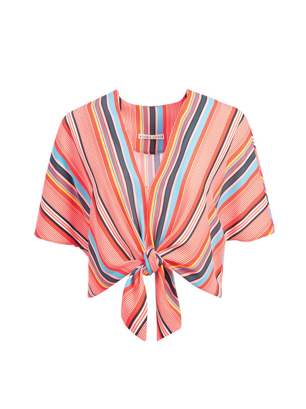 Julian Gold alice and olivia striped tie front blouse