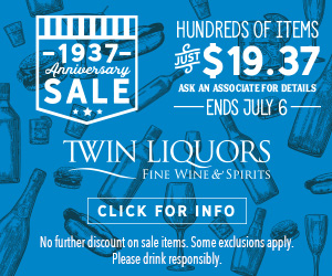 text ad for Twin Liquors