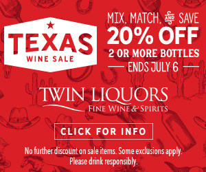 ad for Twin Liquors Texas Wine Sale
