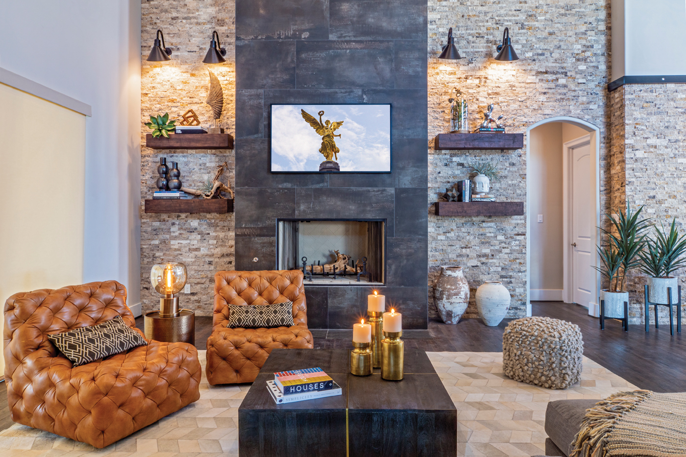 Beautiful contemporary home living room with fireplace