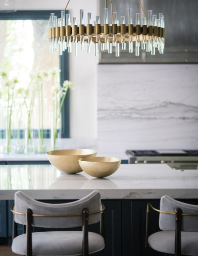 Modern glass and brass chandelier